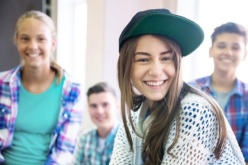 Portrait  group of teenagers in school